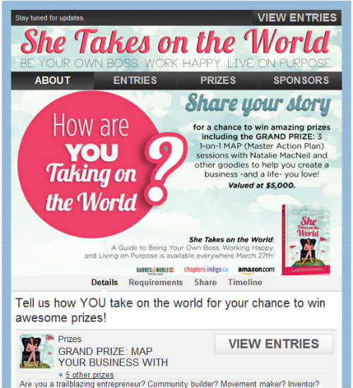 Strutta Contest for She Takes on the World