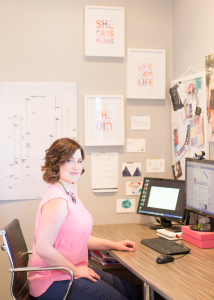 Kathryn Hocking planning launches in her office